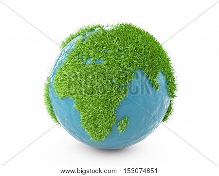 Green planet  concept with continents covered grass. Isolated on white background 3d illustration.