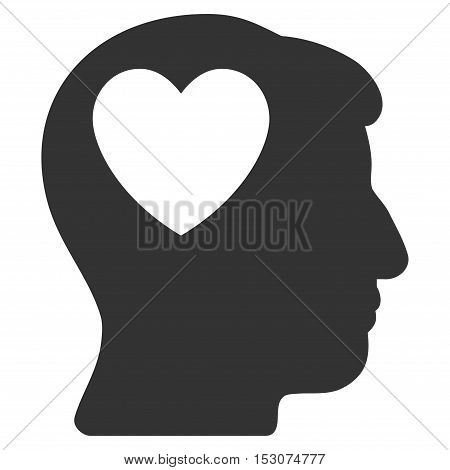 Love Heart Think glyph pictogram. Style is flat graphic symbol, gray color, white background.