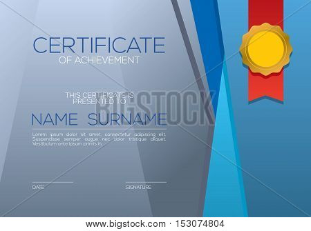 Modern Style Blank Blue Certified Template Vector Illustration. EPS 10