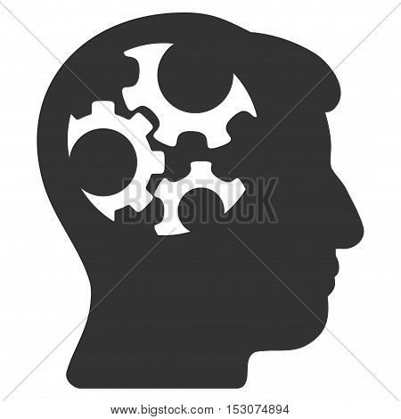 Mind Gears glyph icon. Style is flat graphic symbol, gray color, white background.