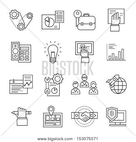 Black isolated assembly line icon set with elements of development and implementation of mechanisms vector illustration