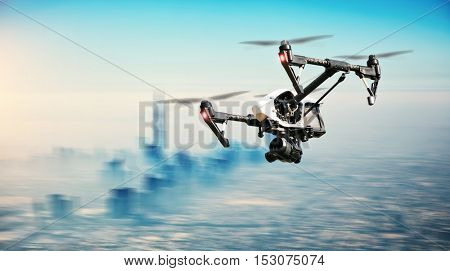 Drone flying aboveDubai city panorama in blur motion