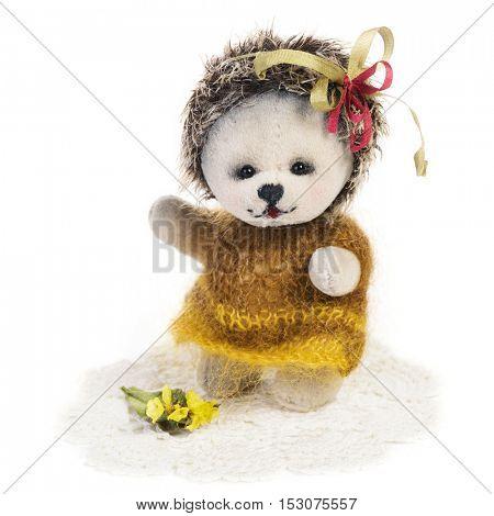 Classic teddy hedgehog on white background