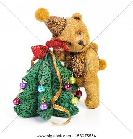 Cute classic teddy bear with Christmas tree decoration. Fully handmade.