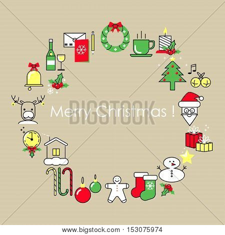 Christmas and New Year card. Design Flat Line