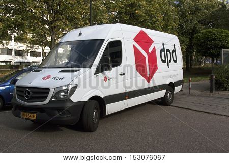 Amsterdam Netherlands-october 3 2016: DPD delivery truck in street in amsterdam