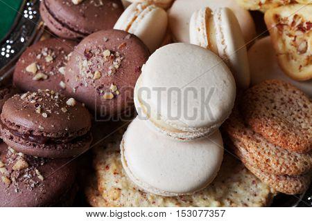 macaroon cake natural, closeup almond chocolate beige, brown
