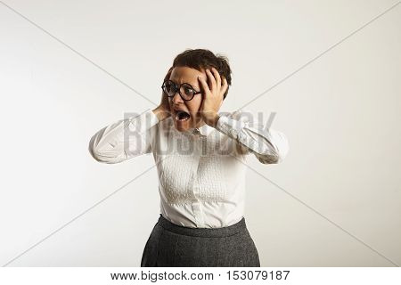 Frustrated Female Teacher In Conservative Clothes