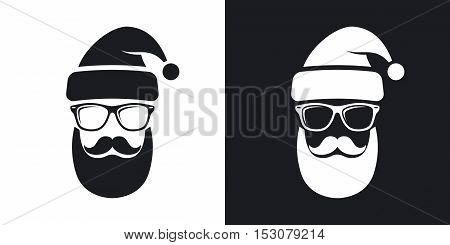 Two-tone Version Of Silhouette Of Santa Claus With A Cool Beard, Mustache And Glasses On Black And W