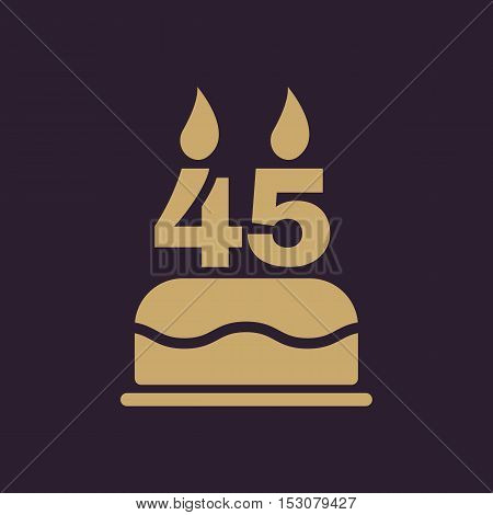 The birthday cake with candles in the form of number 45 icon. Birthday symbol. Flat Vector illustration
