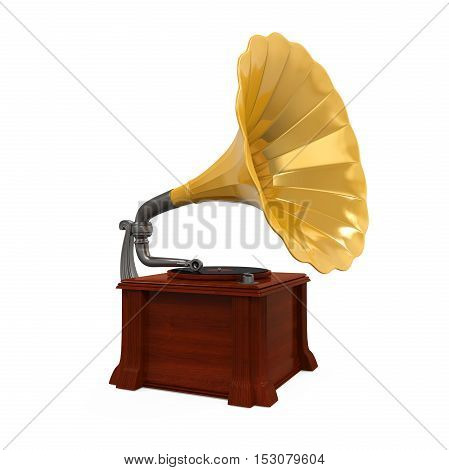 Vintage Gramophone isolated on white background. 3D render