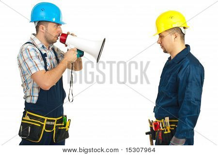Furious Boss Shouting Megaphone To Employee