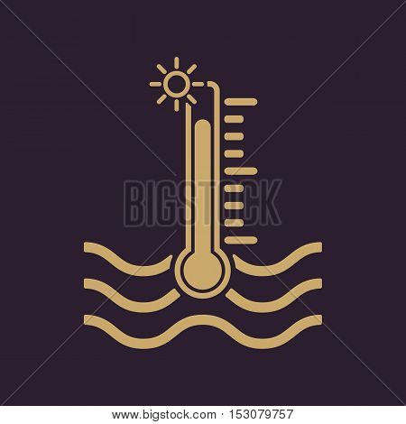 The warm water temperature icon. Hot liquid symbol. Flat Vector illustration