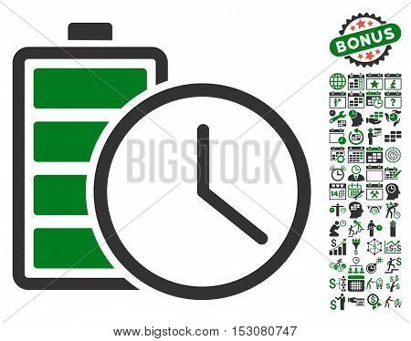 Battery Time icon with bonus calendar and time service symbols. Glyph illustration style is flat iconic symbols, green and gray colors, white background.