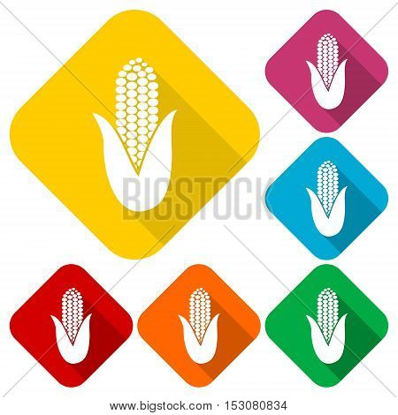 Corn symbol icons set with long shadow