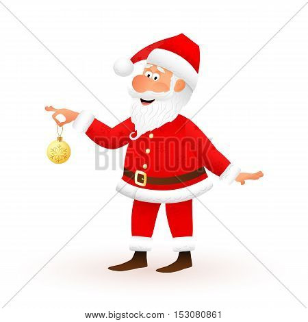 Santa Claus flat character isolated on white background. Standing funny old man is holding yellow Christmas ball with snowflake and smiling. Christmas and New Year cartoon vector illustration