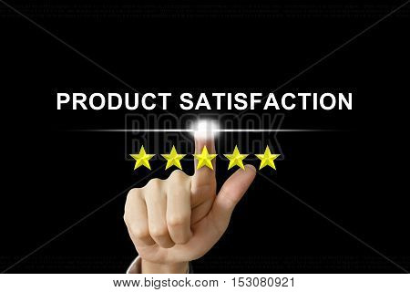 business hand clicking product satisfaction with five stars on screen