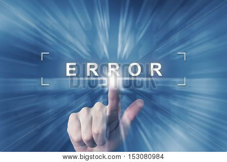 hand clicking on error button with zoom effect background