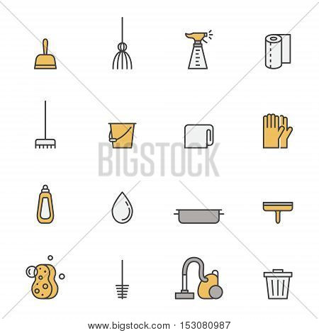 Cleaning outline gray and yellow vector icons set. Clean and simple design.