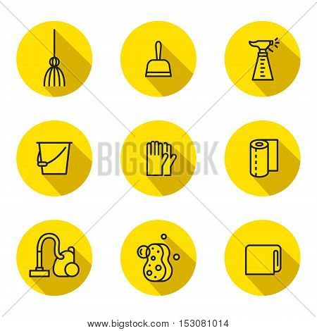 Cleaning outline black and yellow vector circle icon set. Clean and simple design. Part two.
