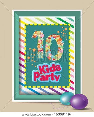 Poster. Birthday Anniversary Numbers. Baby invitation shower card. Happy birthday background. Design template.