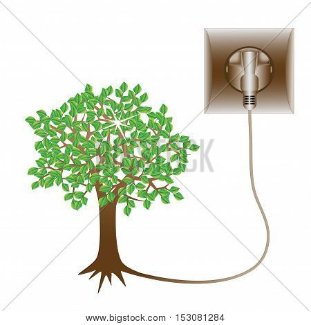 Vector green energy symbol - the tree is connected to the socket