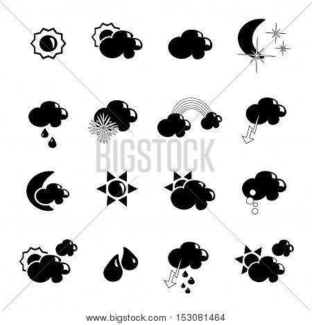 Vector set of black weather symbols - illustration