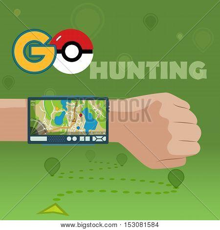 VYBORG, RUSSIA - 24th OCTOBER, 2016 Pokemon Go Navigation, Pokeball. Smart GPS for travel.Vector EPS 10