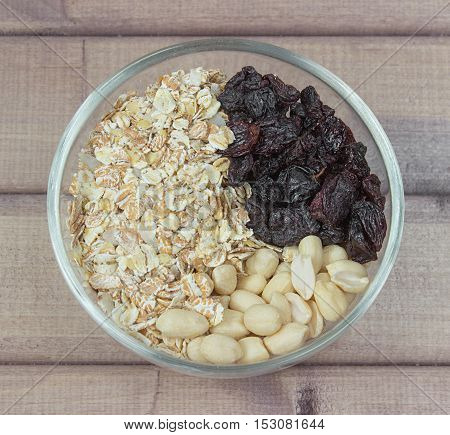 Ingredients for baking healthy cookies in glass bowl