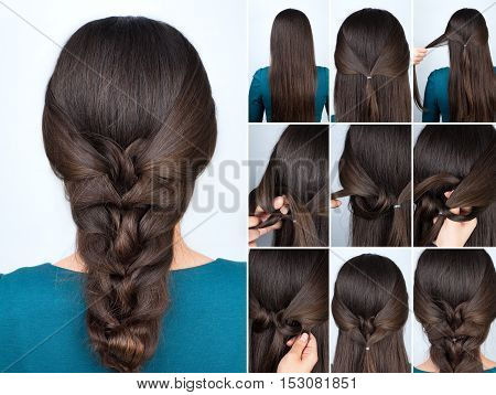 simple hairstyle twisted plait with scrunchy tutorial. Hairstyle tutorial for long hair. Hairstyle
