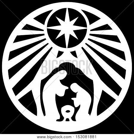 Holy family Christian silhouette icon vector illustration on black background. Scene of the Holy Bible