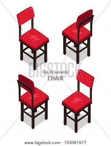 Red chair on four sides vector in isometric projection. Comfortable furniture illustration for stores ad, app icons, infographics, logo, web and games environment design. Isolated on white background