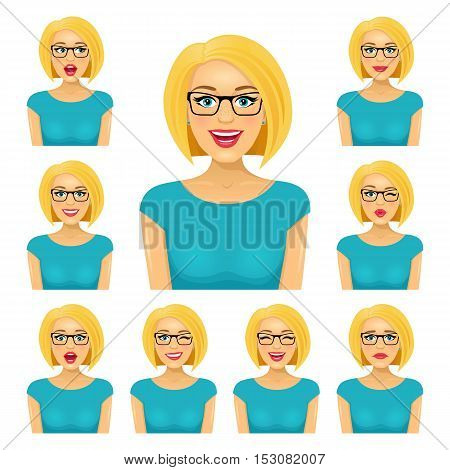 Attractive Blond Woman In Glasses With Nine Different Facial Expressions. Vector Cartoon Avatar Icon