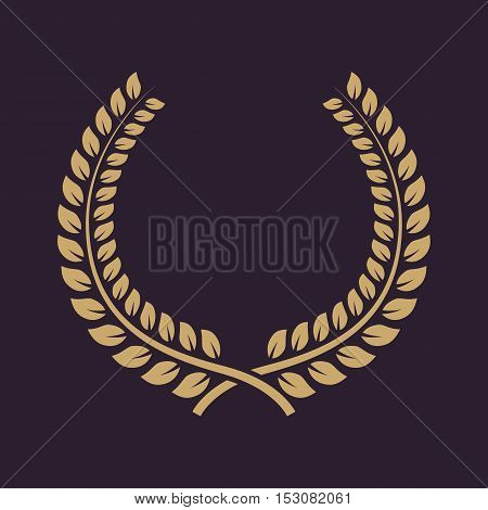 The laurel wreath icon. Prize and reward, honors symbol. Flat Vector illustration. Button Set