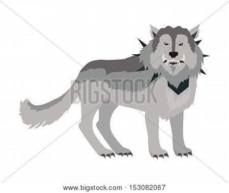 Grey wolf in the collar with spikes outside. Wolf with showing fangs. Stylized fantasy character. Game object in flat design isolated on white background. Vector illustration.