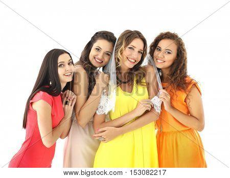 Beautiful girls on light background
