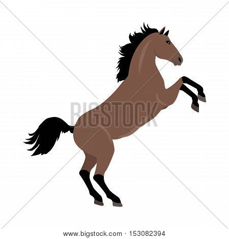 Rearing sorrel horse with hind legs vector. Flat design. Domestic animal. Country inhabitants concept. For farming, animal husbandry, horse sport illustrating. Agricultural species. Isolated on white