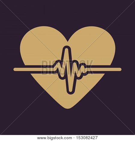 The heart icon. Cardiology and cardiogram, ecg, cardio symbol. Flat Vector illustration