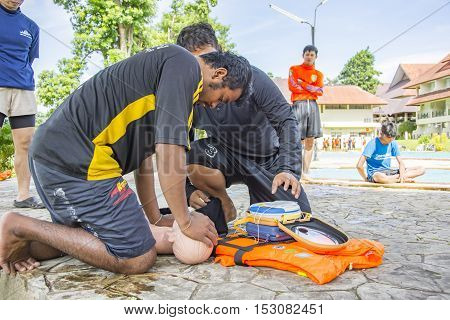 CPR AND AED TRAINING COURSE OCTOBER 21-22 2016 THAILAND : CPR and AED training victim child drowning at Kanchanaburi Thailand October 21-22 2016