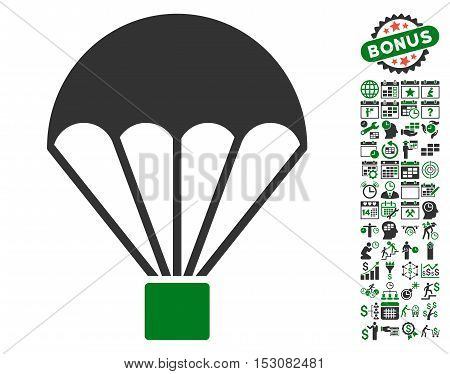 Parachute icon with bonus calendar and time service graphic icons. Glyph illustration style is flat iconic symbols, green and gray colors, white background.