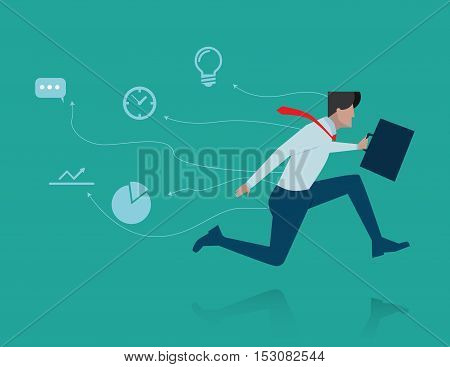 Fast Business . Concept Business Illustration. Vector Flat
