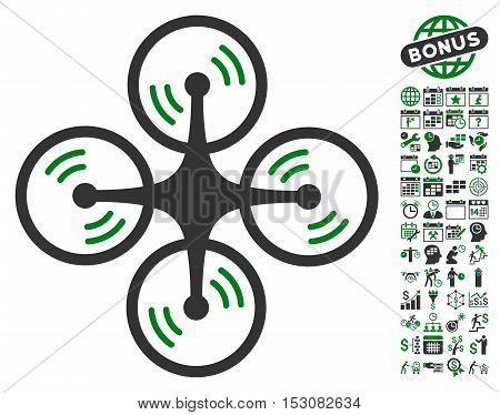 Quadcopter Screw Rotation icon with bonus calendar and time service design elements. Glyph illustration style is flat iconic symbols, green and gray colors, white background.