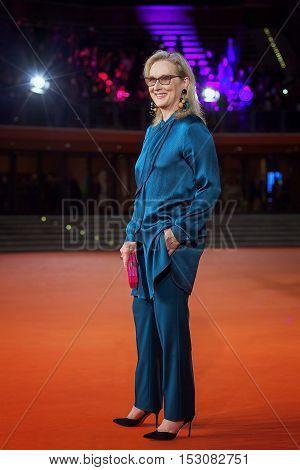 Rome Italy - October 20 2016. The American actress Meryl Streep on the red carpet at Rome Film Festival. At the Auditorium Parco della Musica.