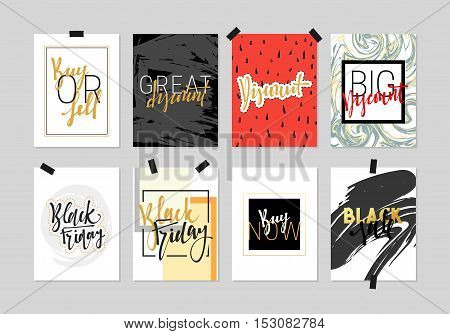 Flat design cards sale discount banners for websites. Beautiful colorful design in gold with hand calligraphy. Inscription Black Friday. Buy now. Big discount. Great discount.