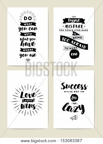 Set of 4 cards or posters with typography. Usable as flyer, banner or postcard. Vector lettering design. Scrapbooking or journaling cards with quotes.