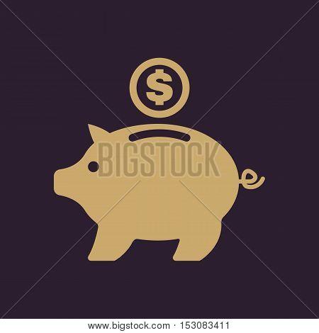 The moneybox icon. Cash and money, wealth, savings symbol. Flat Vector illustration