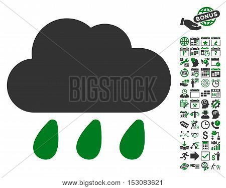 Rain Cloud pictograph with bonus calendar and time service icon set. Glyph illustration style is flat iconic symbols, green and gray colors, white background.