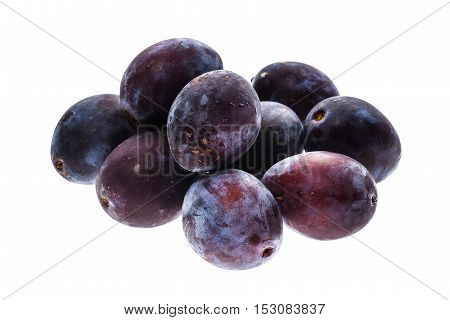 Homegrown Organic Pile Of Blue Plums Isolated On White Background.