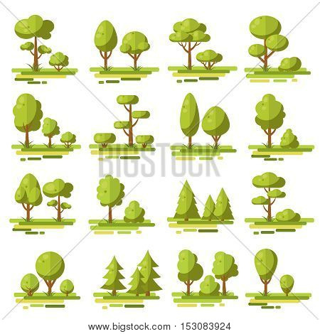 Forest flat elements set with coniferous and deciduous trees and bushes of various shape isolated vector illustration