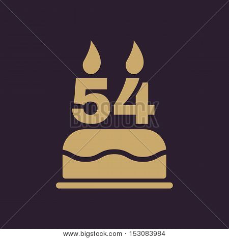The birthday cake with candles in the form of number 54 icon. Birthday symbol. Flat Vector illustration